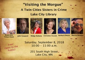 Poster for Visiting the Morgue event at Lake City Library