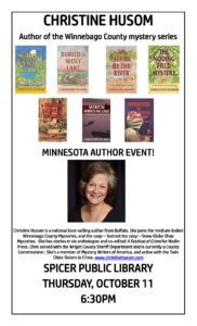 Author Event Poster for Spicer Public Library October_2018